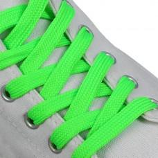 Шнурки плоские 7 мм 120 см цвет неон зеленый (пара)